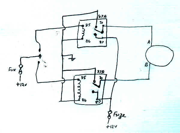 Wiring circuit for relays in the window motor layout ... on